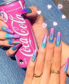 False nails have the advantage of offering a manicure worthy of the most advanced backstage and to hold longer than a simple nail polish. The problem is how to remove them without damaging your nails. Rainbow Nails, Neon Nails, Dope Nails, Swag Nails, Hot Pink Nails, Cute Acrylic Nail Designs, Best Acrylic Nails, Nail Art Designs, Unique Nail Designs