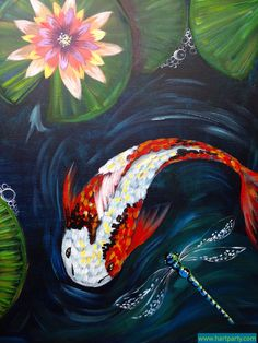 Koi and dragon fly with lily and pond painting By Cinnamon Cooney The Art Sherpa…