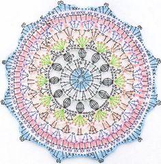 Mandala Crochet Patron, Crochet Mandalas, Crochet Mandala Pattern, Crochet Circles, Doily Patterns, Crochet Motifs, Fleur Crochet, Crochet Stitches Patterns, Crochet Granny