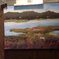 Bourne Pond pastel painting by SL Graham