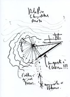 "PARTI DRAWING. A parti is a basic representation of a main idea or concept behind a design, which can be represented by ""rough"" sketches or models. Architect: Renzo Piano. Building:Padre Pio Pilgrimage Church. Year:2004. Location: Italy"