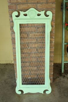 Primitive & Proper: mint green message board from mirror frame with chicken wire