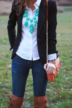 Fall work outfit with black blazer, mint necklace, and coral bag
