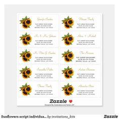 Sunflowers script individual guest address labels Personalized Address Labels, Personalized Stickers, Custom Labels, Address Stickers, Elegant Invitations, Wedding Invitations, Wedding Stationery, Invitation Kits, Wedding Stickers