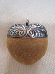 19th C Acorn Emery with Sterling Top...probably from a chatelaine.