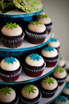 Lime Green and Aqua Wedding | lime green #turquoise # cupcakes