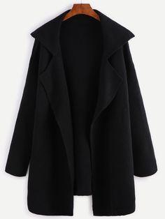 Black Notch Collar Open Front Sweater Coat -SheIn(Sheinside)