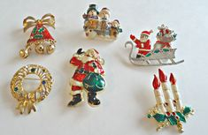 6 Vintage Christmas Pins Enamel Rhinestones Brooches Santa Snowman Sled Wreath Bells by TreasureCoveAlly on Etsy