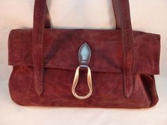 Wilsons Leather Purse Plum Purple Suede Satchel Hobo Bag Double Strap EUC #WilsonsLeather #Hobo