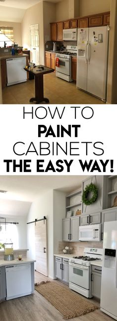 This is one of the EASIEST ways to paint kitchen cabinets!  It has very few steps, and it dries quickly.  The paint is inexpensive too.  We bought it at Walmart!  We took our sister's dated kitchen, and we gave it a whole new life with just paint alone.  You don't have to spend thousands of dollars to have a kitchen that looks nice.  Just changing the paint alone makes such a huge difference! via @shanty2chic Shanty 2 Chic, Walmart, Painting Kitchen Cabinets, Stuff To Buy, Guest Bedrooms, Kitchen Island, Contemporary, Kitchen Remodel, Home Improvement