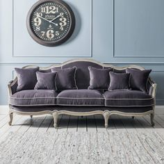 Chateau Grey Velvet 3 Seat Sofa - Traditional Styles - Our Sofa Collection - Sofas & Seating Velvet Furniture, Sofa Furniture, Cheap Furniture, Purple Furniture, Refinished Furniture, Rustic Furniture, Vintage Sofa, Sofa Design, Boconcept