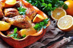 Recetas con Pollo asado a la naranja con pimentón. - Recetas con Pollo 20 Min, Bon Appetit, Pizza, Stuffed Peppers, Meat, Chicken, Orange, Vegetables, Food