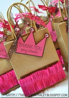 *Love the crown tag  PRINCESS BIRTHDAY PARTY BAGS  http://theautocrathaley.blogspot.com/2013/01/princess-party-bag-favors.html