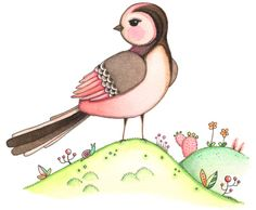 """https://flic.kr/p/6KABtP   Pink birdie   Water color and pen on paper. I was inspired by a pretty little bird called """"Long-tailed Tit""""."""