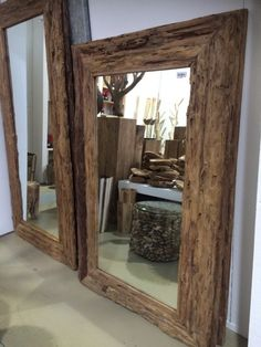 Spiegel Massivholz Teak, Wandspiegel, Maße 120 x 100 cm - Spiegel - Wohnaccessoires