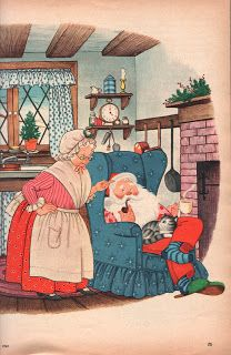 """""""Family Circle"""" illustration by Gyo Fujikawa (December) This is exactly how I picture Santa and Mrs. She's Martha Washington colonial! Old Time Christmas, Christmas Scenes, Old Fashioned Christmas, Christmas Past, Father Christmas, Christmas Greetings, Christmas Postcards, Xmas, Vintage Christmas Images"""