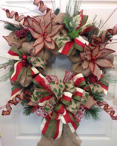 Burlap Christmas Wreath on Etsy, $http://www.pinterest.com/williamsfloral/christmas-2013/105.00