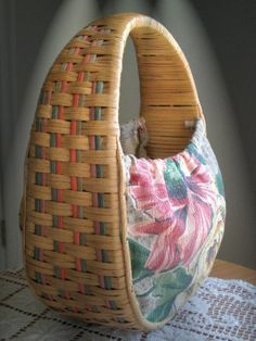 Retro Floral Barkcloth + Dyed Rattan Handbag Purse