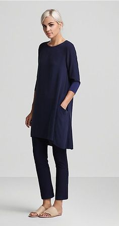 Pair an all-navy look with cream slip-on shoes this spring. Let Daily Dress Me help you find the perfect outfit for whatever the weather! dailydressme.com/