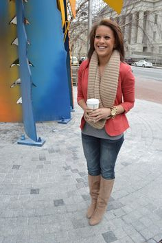 Jeans, boots, and rose jacket. Love this!