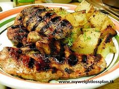 Image for Delicious Glazed Chicken With Potatoes Chicken Steak, Glazed Chicken, Chicken Potatoes, Grilled Chicken, Paleo Food List, Paleo Meal Prep, Lunch Recipes, Paleo Recipes, Citrus Chicken Marinade