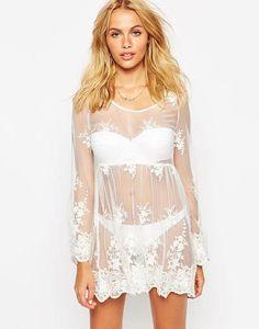 ASOS Vintage Lace Mesh Smock Beach Dress at asos.com #meshdress #women #covetme #vintage #beach #dress #beachwear #asos #lace