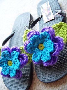 Blue Mediterranean Flip Flops. Crochet flowers & leaves added to plain pair of flip flops. [Note to self: Cotton yarn]