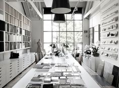 Black and white working office with simple decor.