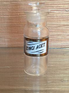 "Small Antique Apothecary Bottle or Jar w Label Under Glass 4 1/2"" (Zinci Acet.)"