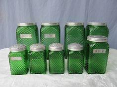 Vintage 9 Piece Green Depression Glass Canister & Shaker Set