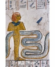 colors suggest isis. The serpent would be Au Zhit, world snake. Goddess' hair is netted, as seen in the stone urn carvings.