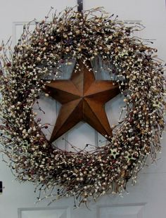 Extra Large Primitive Wreath -- Button Star Berry Wreath - Rusty Star - Memorial Day Wreath - Mantel Wreath -  Mother's Day Gift