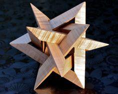 Star sculpture star of david wooden origami art by JPG Woodworking.