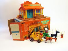 Fisher price Western Town with Little People toy vintage Complete with Box 1970