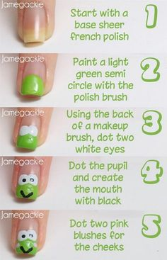 Frog Nail Art Tutorial - Another Version of a Frog - manicure (With images) Nail Art Diy, Diy Nails, Cute Nails, Pretty Nails, Manicure, Cute Nail Art Designs, Nail Polish Designs, Pretty Designs, Nagel Hacks