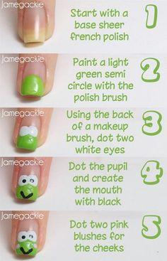 Frog Nail Art Tutorial - Another Version of a Frog - manicure (With images) Nail Art Diy, Diy Nails, Cute Nail Art Designs, Pretty Designs, Animal Nail Art, Nagel Hacks, Nails For Kids, Simple Nails, Love Nails