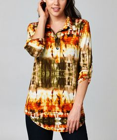 Loving this Olive & Rust Tie-Dye Button-Front Top on #zulily! #zulilyfinds