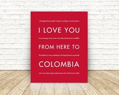 Colombia South America Travel Art Print. Colombia South America Love wall art print poster. Shown in Red. Printed on matte professional-quality art paper. Choose from a variety of sizes and materials: Framed Art Print, Unframed Art Print or Canvas. Canvas prints are printed on a museum-quality canvas with a wire installed for easy hanging. The canvas prints are not framed. Framed art prints are in a black frame without a mat. Please pay attention to the size when placing the order. Due…