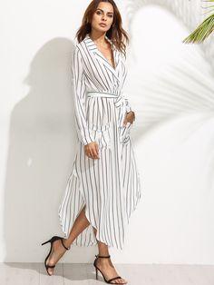 #AdoreWe #SheIn Dresses - SheIn White Vertical Striped Notch Lapel Belted Shirt Dress - AdoreWe.com