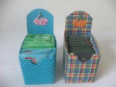 caixa de leite reciclada para porta sachê de chá