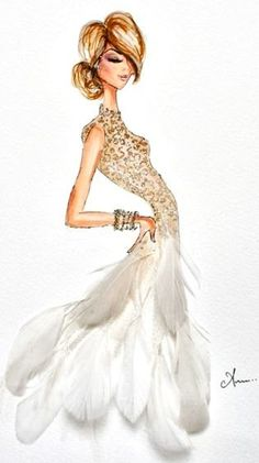 1920s Inspired Photo Illustration gown gold feathers roaring twenties 20s flapper sleeveless