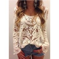 Crochet Lace T Shirt Floral Top Women Blouse Sheer Embroidery Sleeve Semi Hot S  100% Brand New.