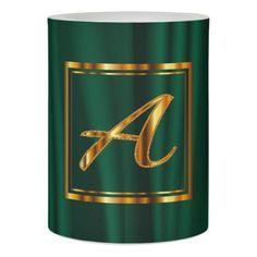 Monogram Metallic Gold on Green Satin Flameless Candle