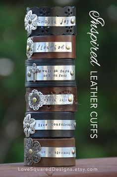 Wear Your Word: Personalized leather cuff  by LoveSquaredDesigns on Etsy