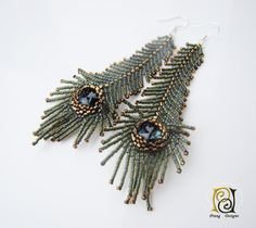 Peacock feather earrings, seed beads earrings, Prang Designs, Swarovski crystal earrings, green