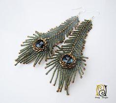 Peacock feather earrings, seed beads earrings, Prang Designs, Swarovski crystal earrings, green