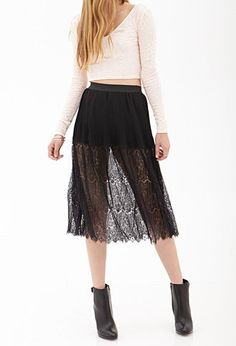 Lace Panel Pleated Skirt | FOREVER21 - 2000137686