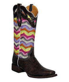 Look at this #zulilyfind! Café Marble & Chevron Leather Cowboy Boot by Tanner Mark Boots #zulilyfinds