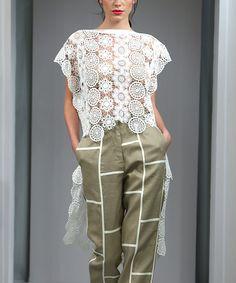 JSong White Sheer Lace Pillowcase Hi-Low Tunic - Women & Plus | zulily