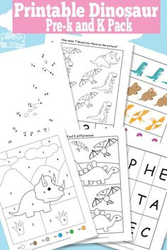 Free Dinosaur Printables for Preschool and Kindergarten